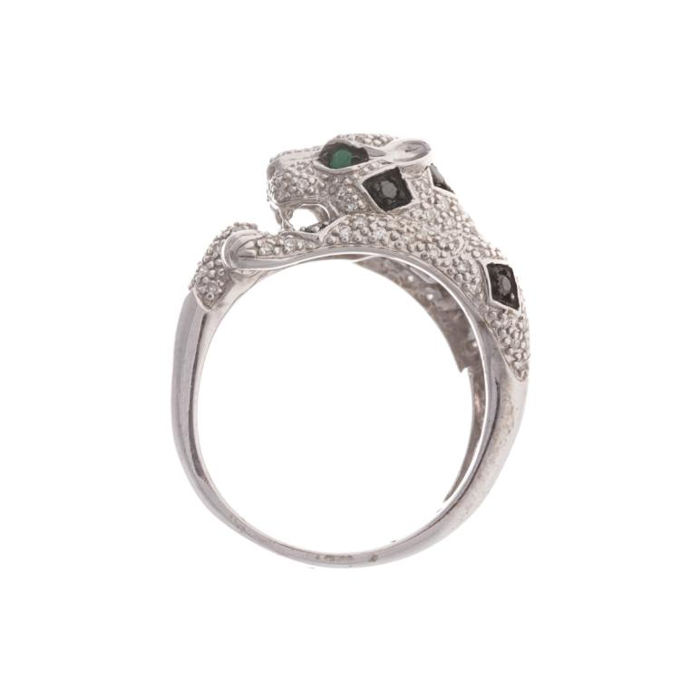 a s 14k white gold panther ring