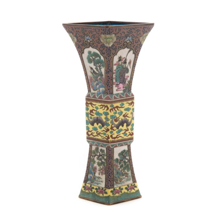 Chinese cloisonne enamel panel vase for Alex cooper real estate auctions