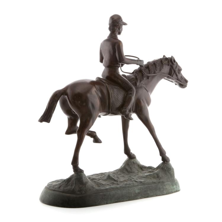 Horse and jockey bronze for Alex cooper real estate auctions