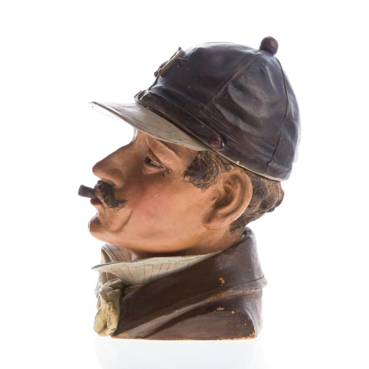 German painted terracotta jockey tobacco jar for Alex cooper real estate auctions