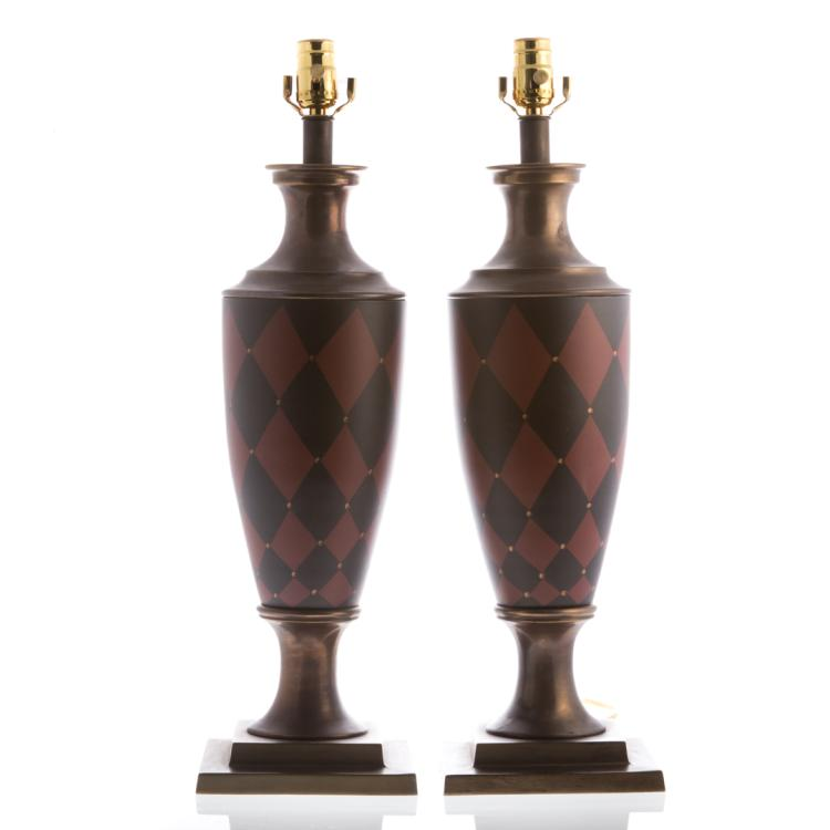 Pair top brass painted brass table lamps for Alex cooper real estate auctions