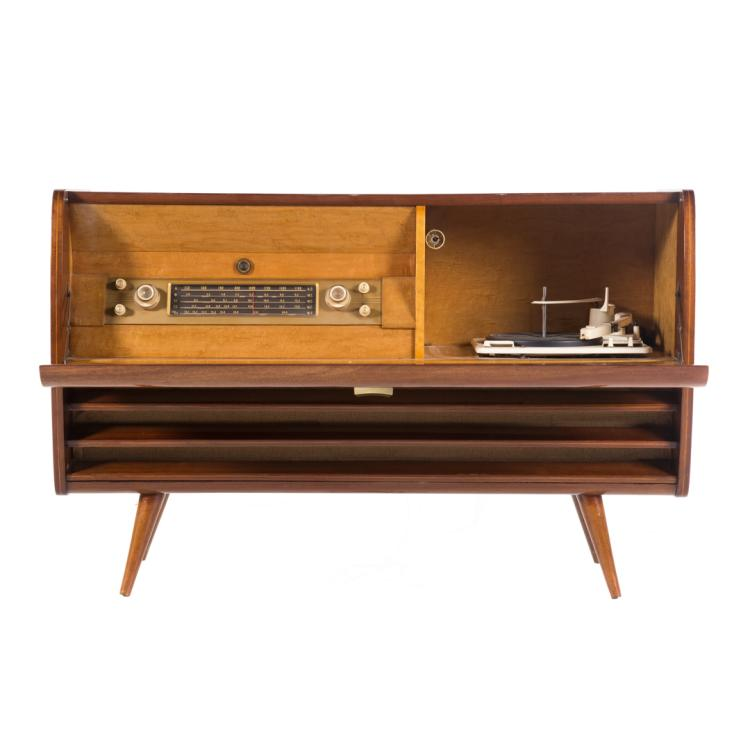 Mid century modern mahogany stereo cabinet for Alex cooper real estate auctions