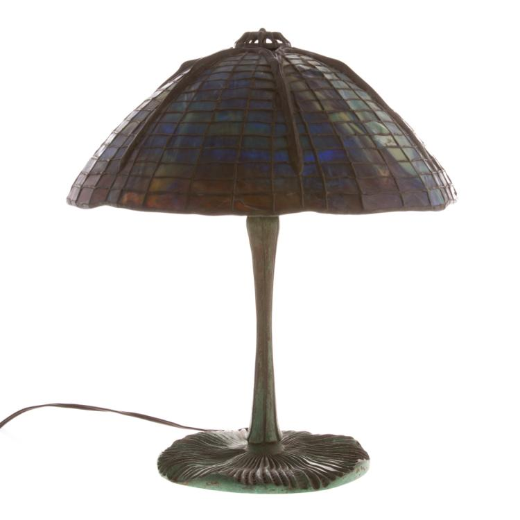 Art nouveau table lamp in the tiffany manner for Alex cooper real estate auctions