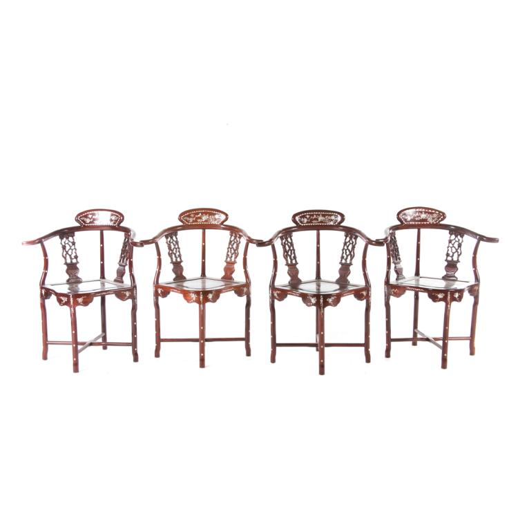 Four chinese carved hardwood yoke back chairs for Alex cooper real estate auctions