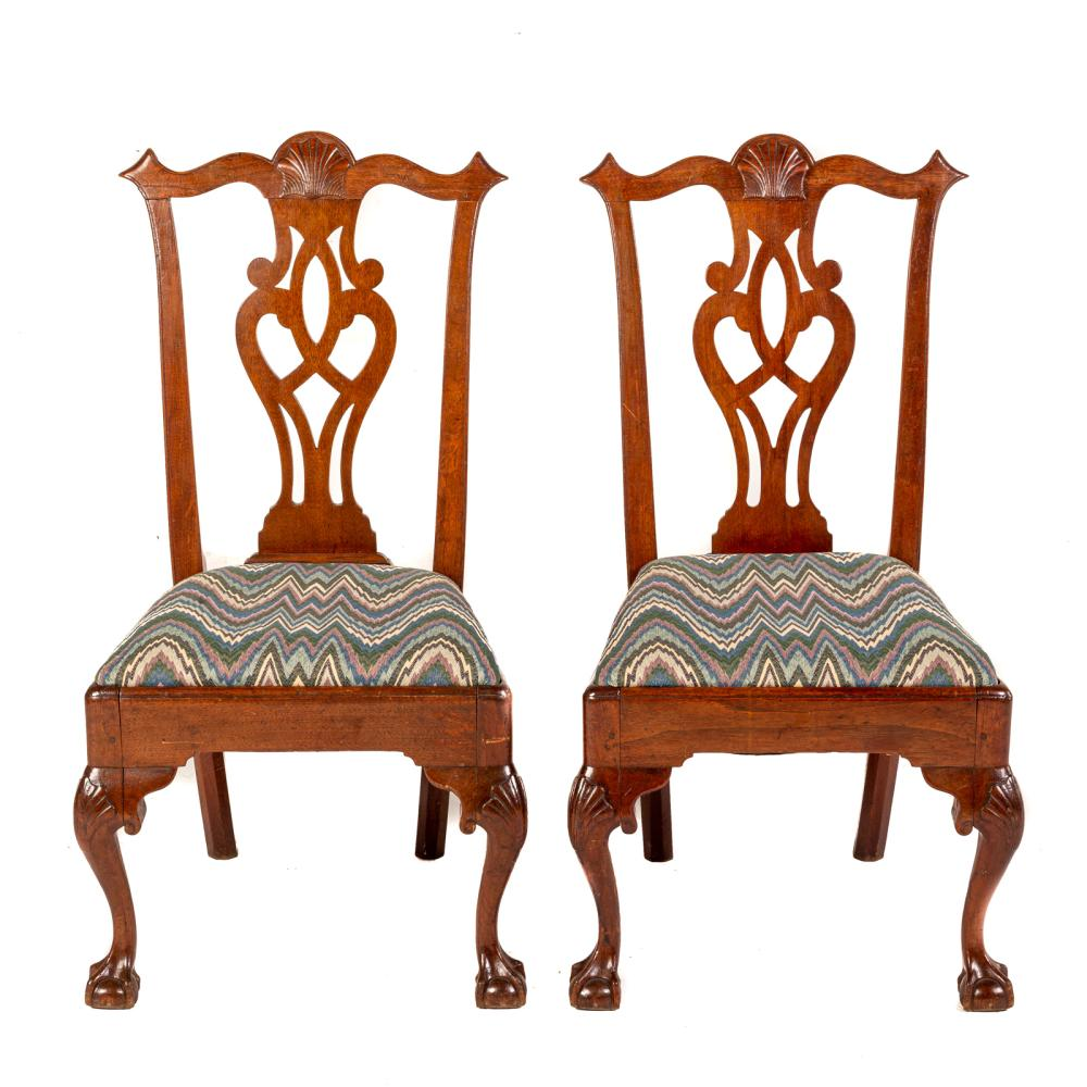 A Pair of American Chippendale Walnut Side Chairs
