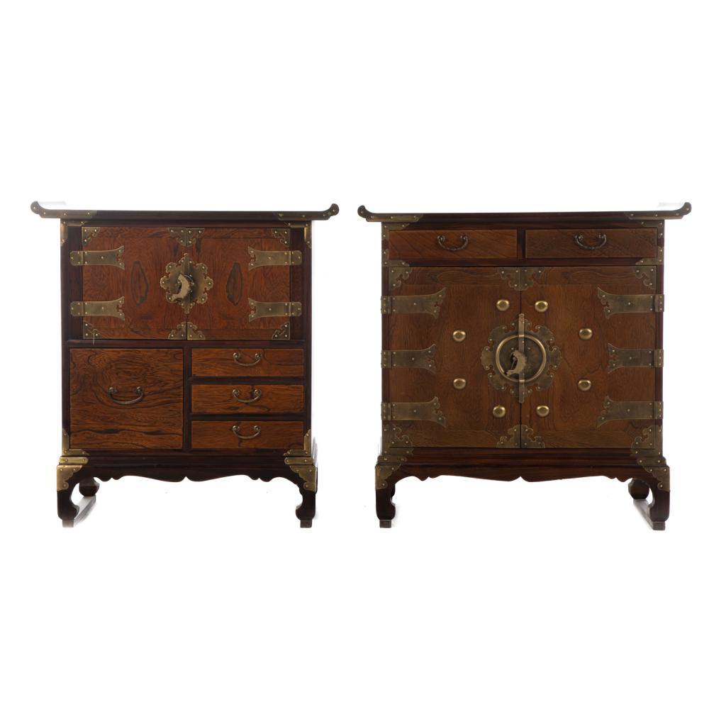 Two Korean Elmwood Diminutive Altar Cabinets