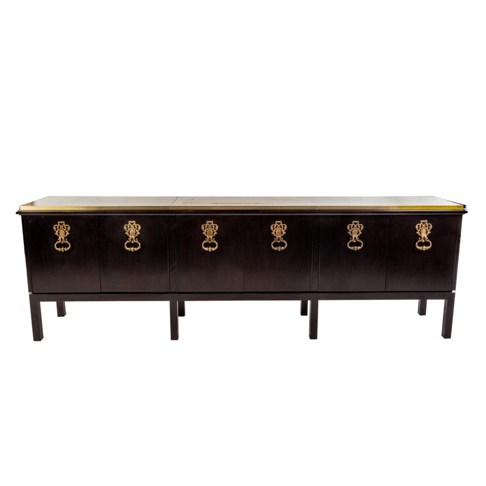 Contemporary Ebonized Console with Brass Top