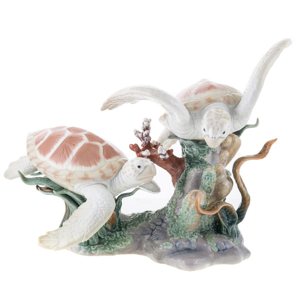 Lladro Porcelain Group, Sea Turtles