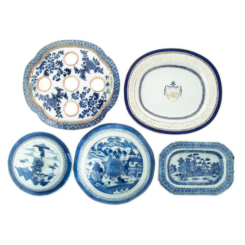 Five Chinese Export Lids & Underplates