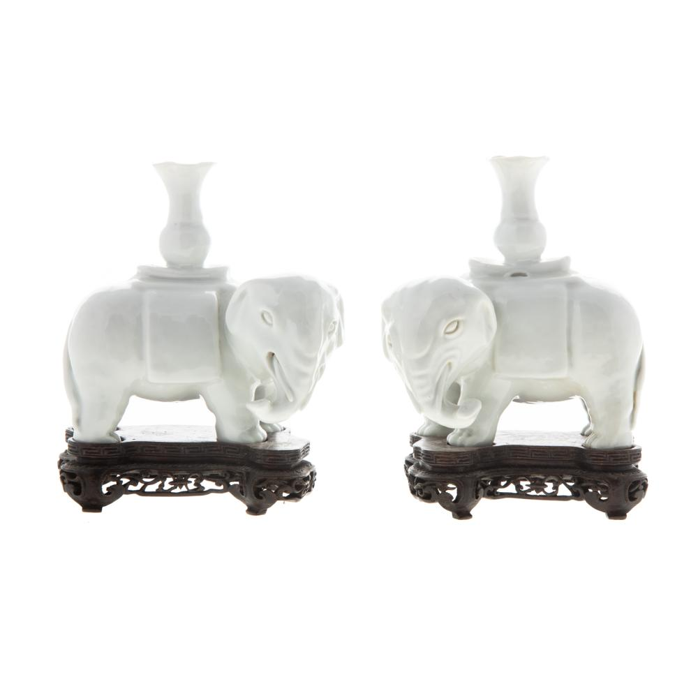 A Pair of Chinese Blanc de Chine Elephant Joss Holders