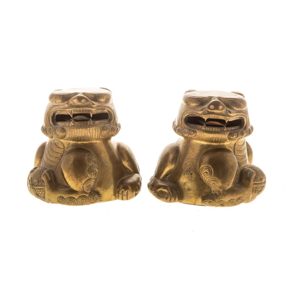 A Pair of Sino-Tibetan Brass/Silver Marriage Cups