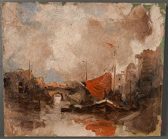 Dirk Jansen, Dutch, 1878-1952, Canal Scene with Boats, oil on canvas, 10 x 12 in., framed