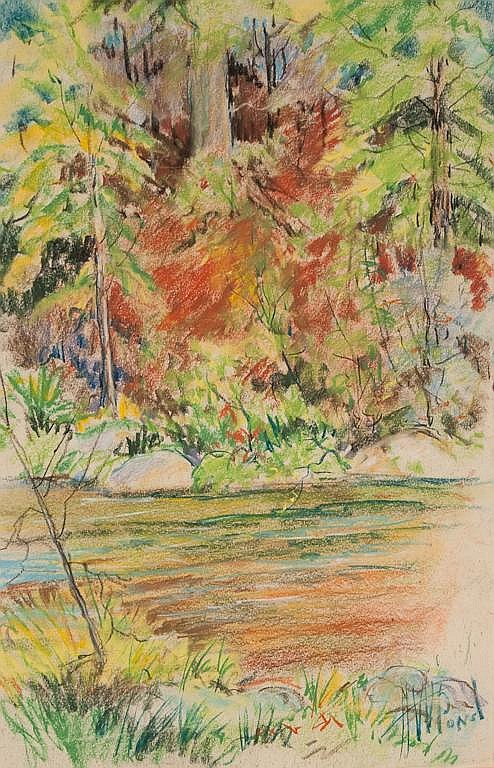 Harold Woodford Pond American, 20th century Impressionistic Landscape with Lake pastel on paper