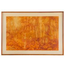 """Lee Weiss. """"Apricot Sky and Trees,"""" watercolor"""