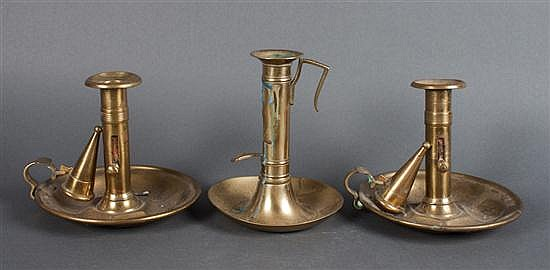 Pair of Victorian brass chamber sticks and dish base chamber stick