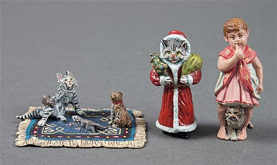 Two Austrian cold painted bronze figures, and a similar figural group