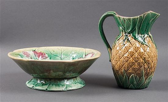 Victorian majolica pineapple pitcher, and a water lily decorated majolica compote