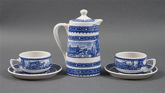 Lamberton Baltimore & Ohio Railroad china chocolate pot, and similar pair of demitasse cups and saucers