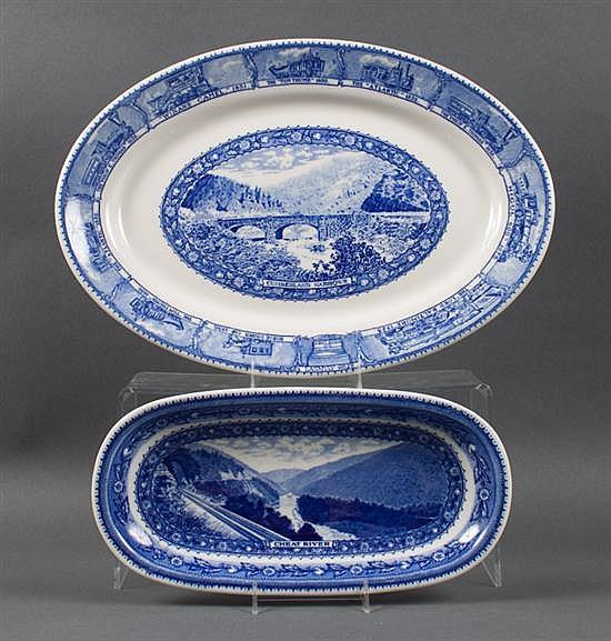 Lamberton Baltimore & Ohio Railroad china platter, and similar celery dish