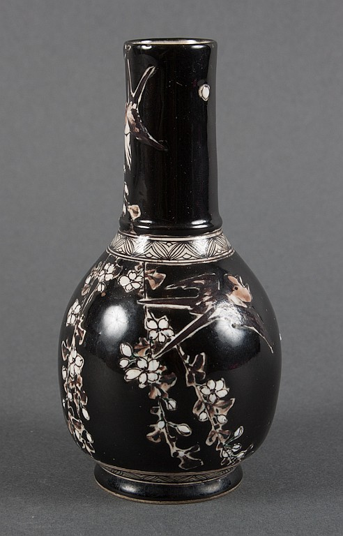 Japanese Satsuma earthenware vase with black enamel glaze