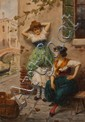 Leonardo Morello, Italian, late 19th/ early 20th century, Venetian Girls by the Canal, watercolor on paper, 11 3/4 x 8 1/4 in., fram...