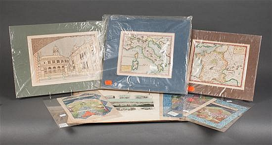[Maps, Miscellaneous] Selection of maps, prints and Mughal style miniatures