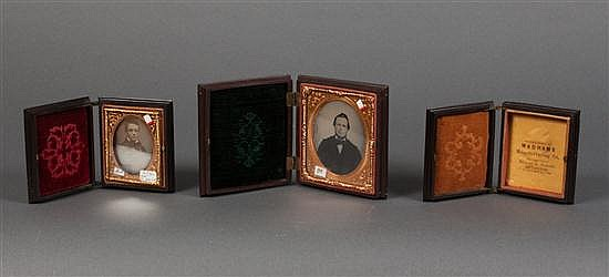 [Photography] Three thermoplastic Union cases, mid 19th century