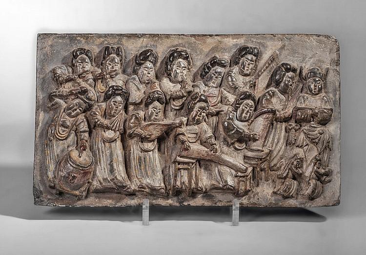 Brique murale moul e en bas relief d 39 un orchestre de musicie - Plaque brique murale ...