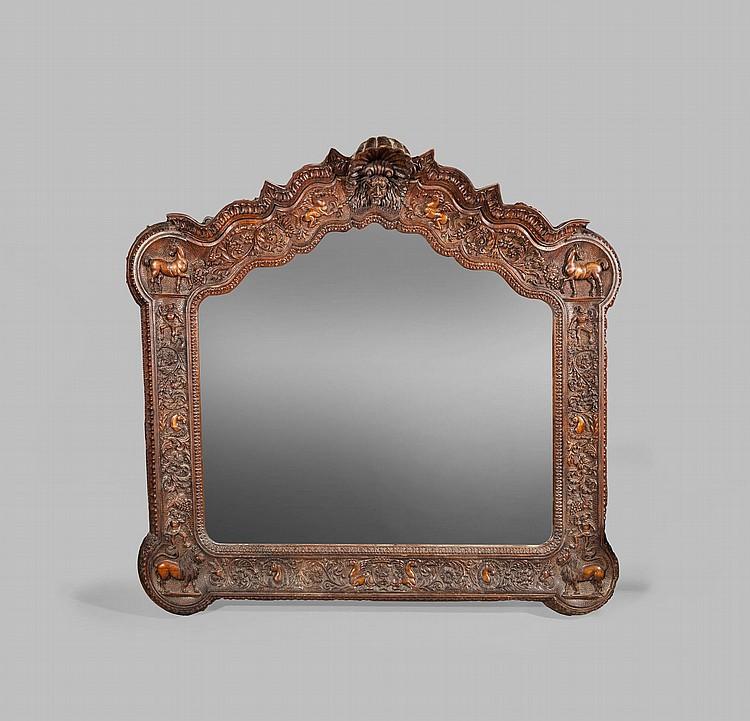 grand miroir colonial en bois exotique richement sculpte d 39