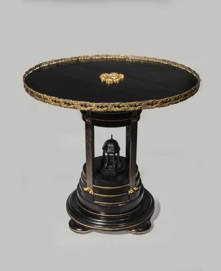 gu ridon rond en bois noirci. Black Bedroom Furniture Sets. Home Design Ideas