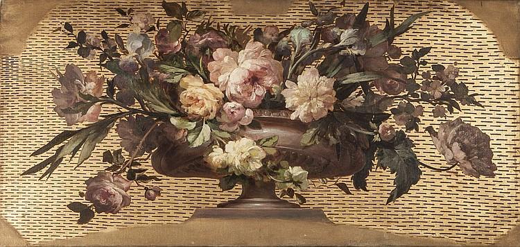 Ecole francaise xixeme bouquet de roses huile sur toile for Porte francaise