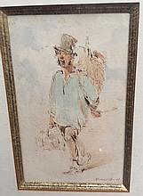 Horace VERNET (1769-1863) -Portrait de Monsieur Andrieux, Plume encre brune et aquarelle 13 x 10 cm Monogramme, titre et date 48  en bas a droite