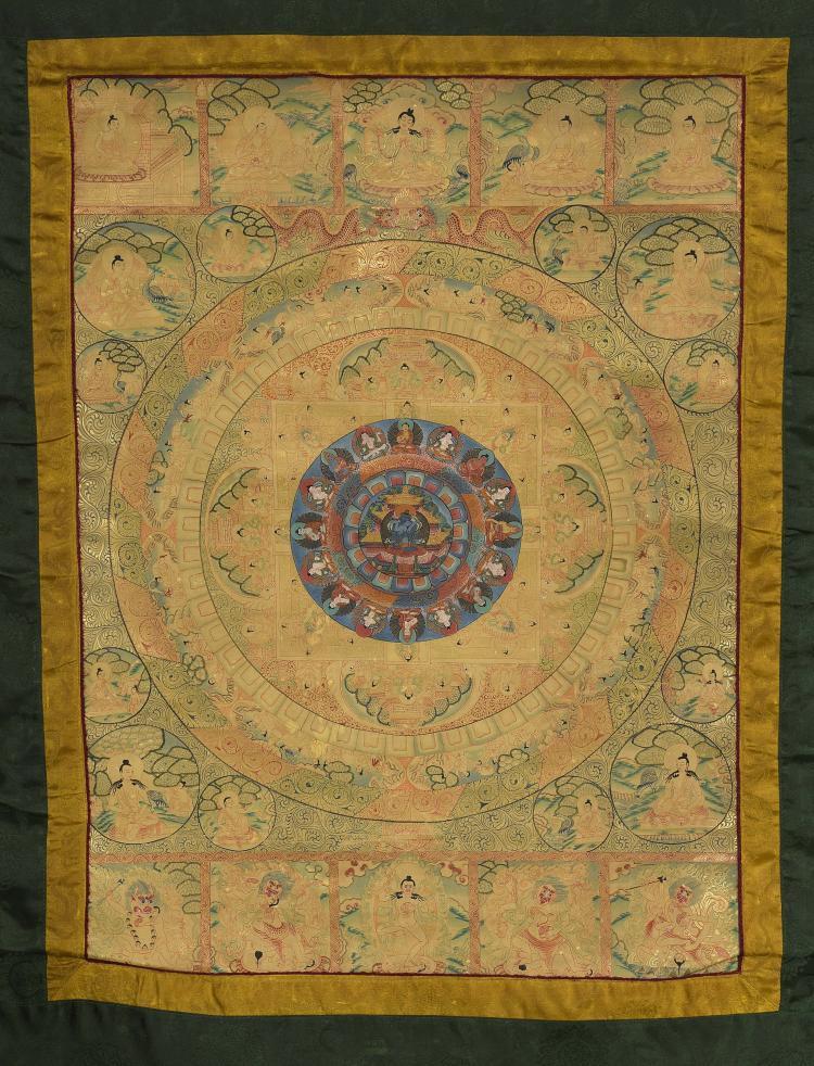 Tanka MANDALA illustrée d'un couplé tantrique en union divine devant une pagode auréolée d'un lotus et entouré des Dyani Bouddha,