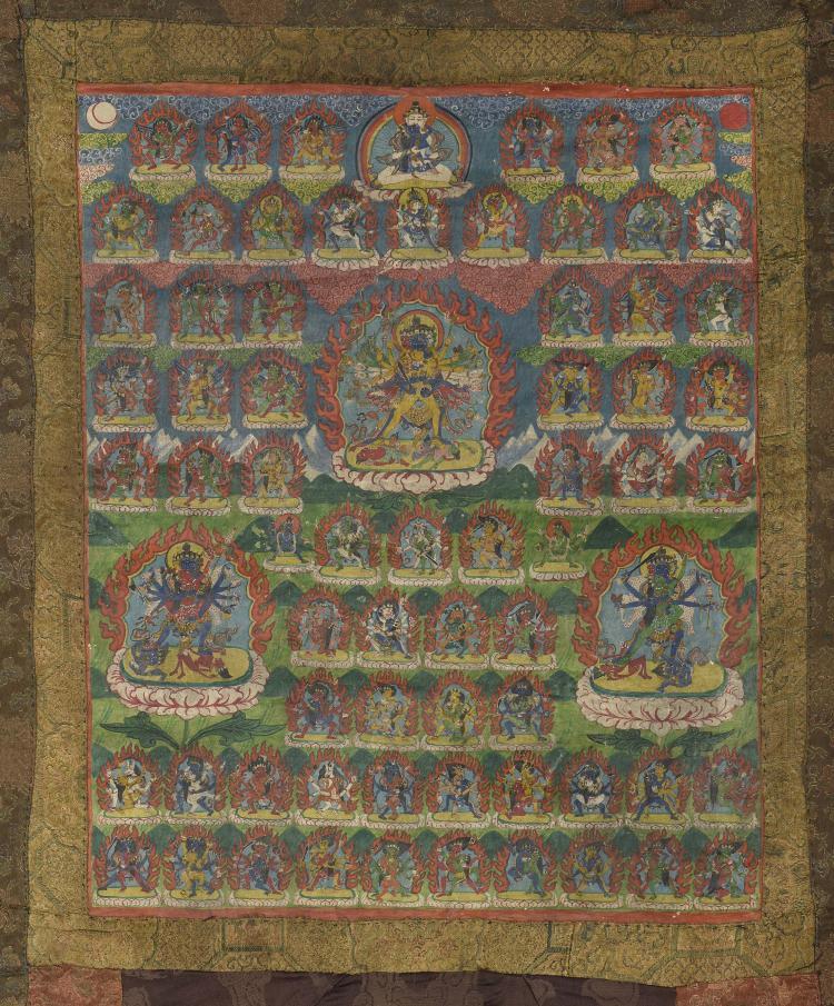 Tangka illustrant soixante dix Boddhisattvas et divinités bouddhistes.