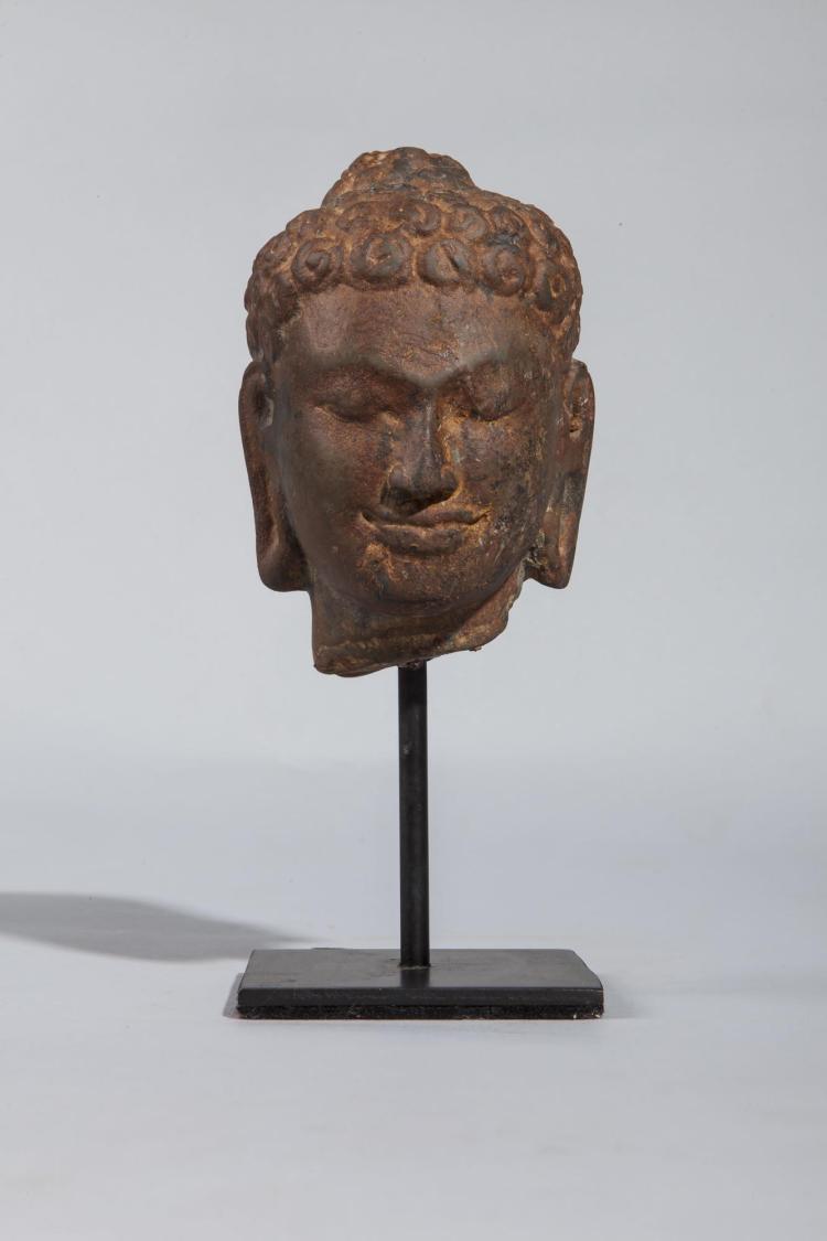 Tête de Buddha coiffée de larges boucles surmontée de la protubérance crânienne ushnisha symbole de sa connaissance.