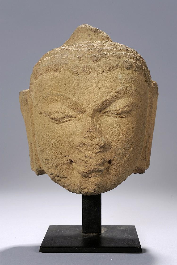 Tête de Bouddha à l'expression juvénile,