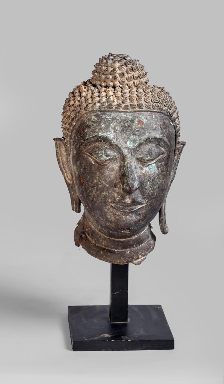 Tête de Buddha coiffée de fines bouclettes surmontée de la protubérance crânienne ushnisha,