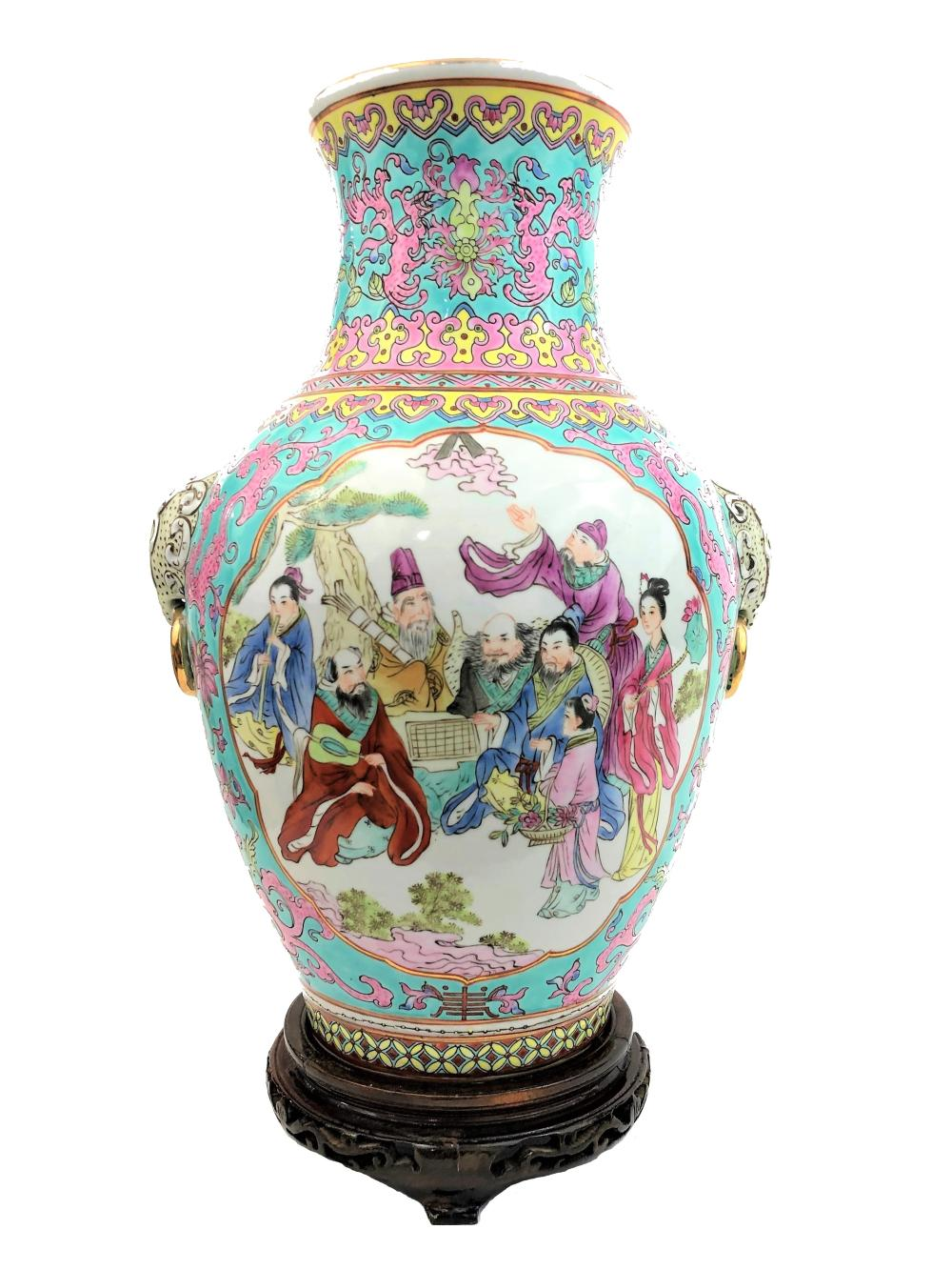 Chinese Family Rose style colored porcelain vase