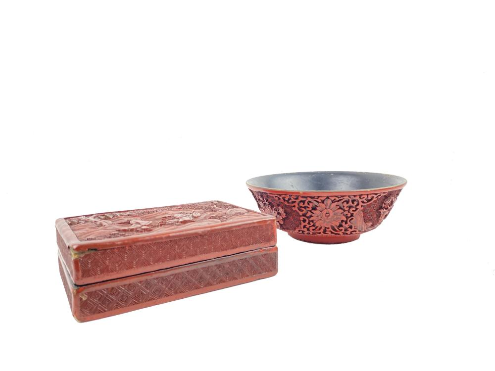 Two Chinese Carved Red Cinnabar Pieces