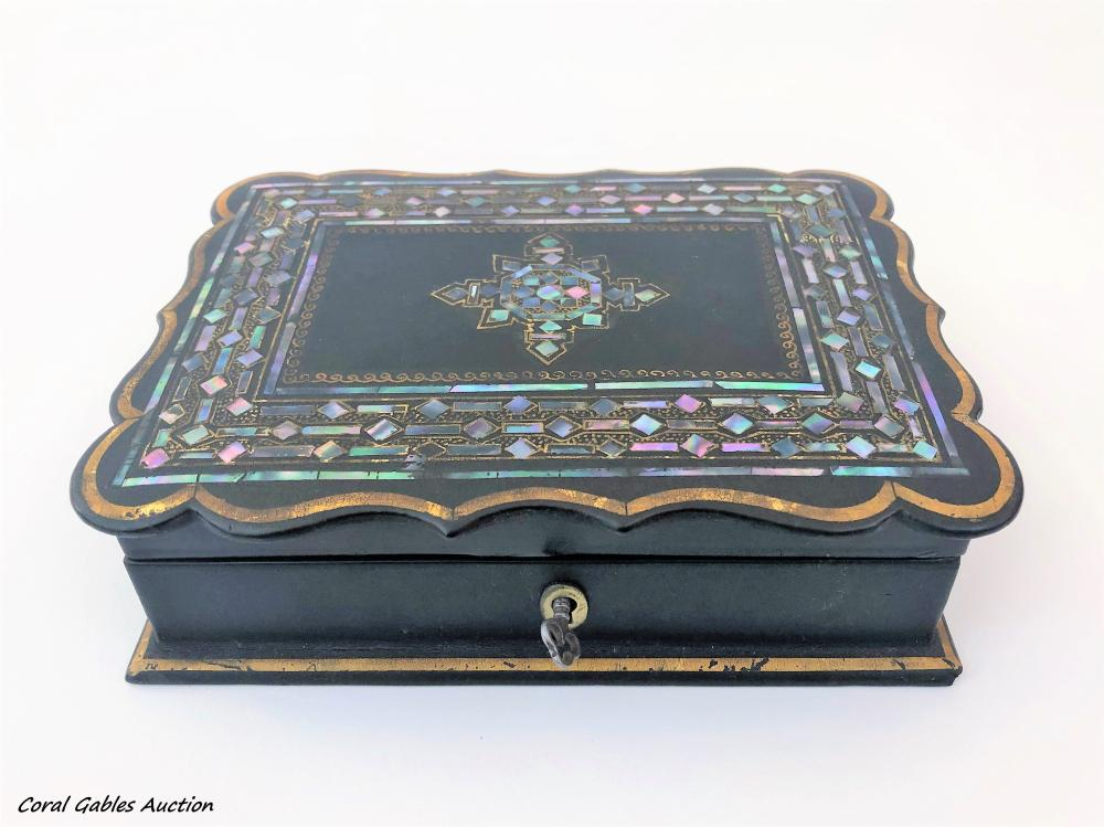Antique wooden box and mother of pearl