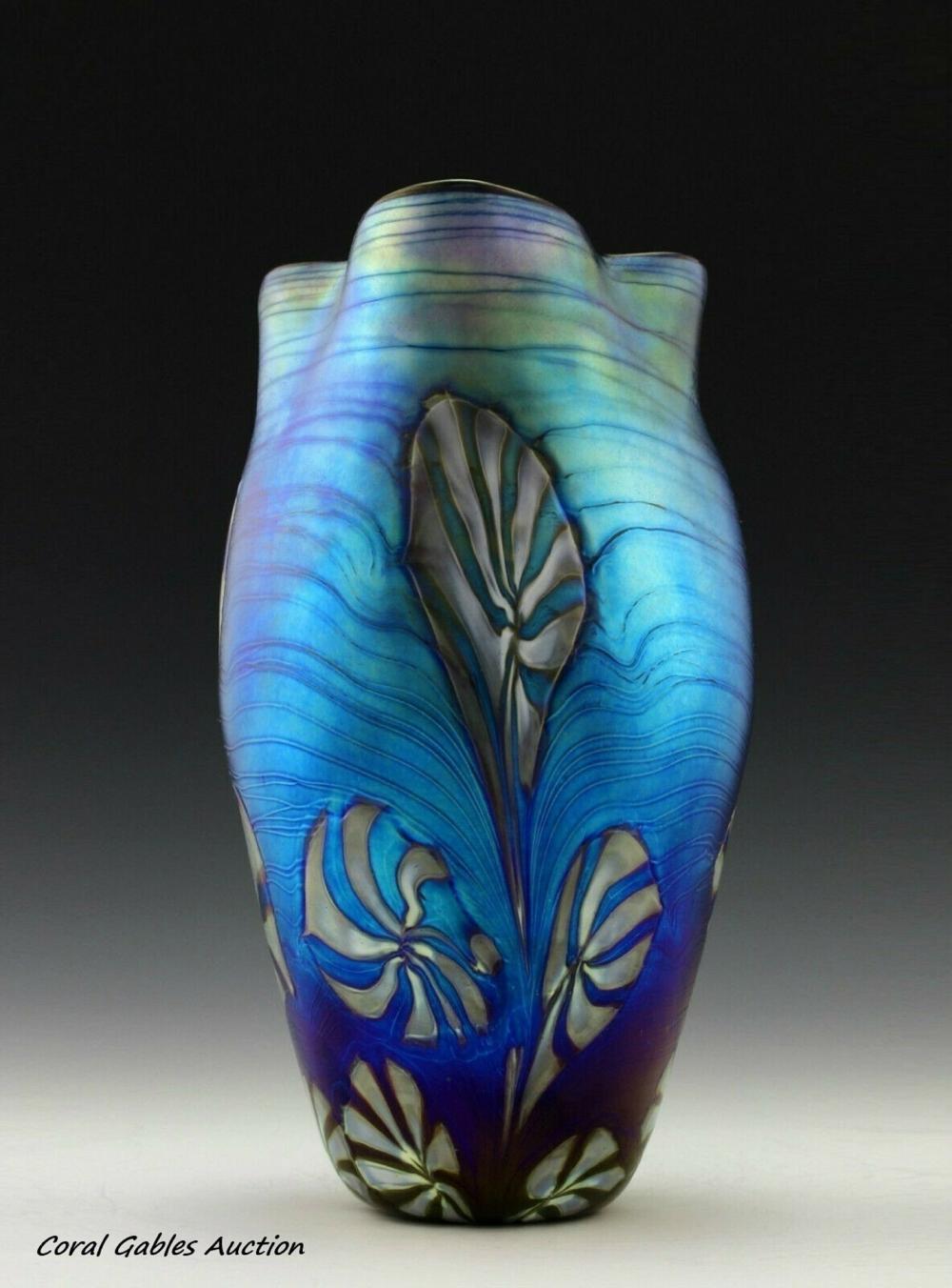 Bohemia Art Nouveau Loetz Style Glass Vase