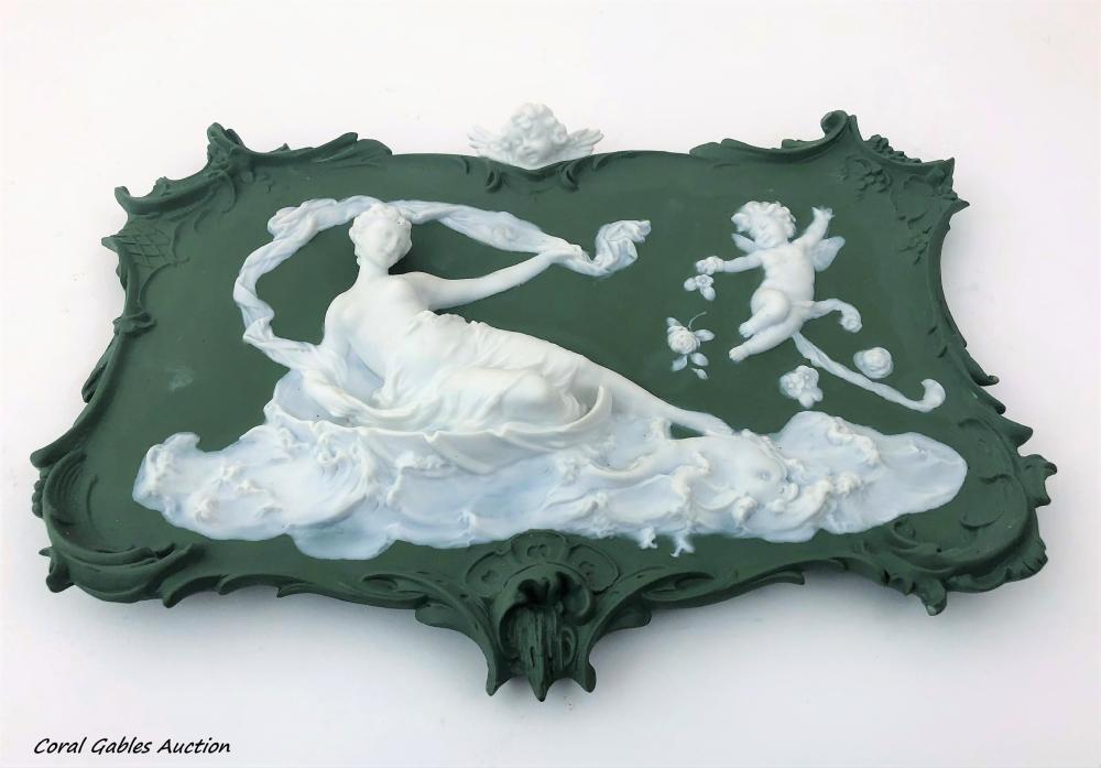 Volkstedt Jasperware Plaque ca 1890s -1910s