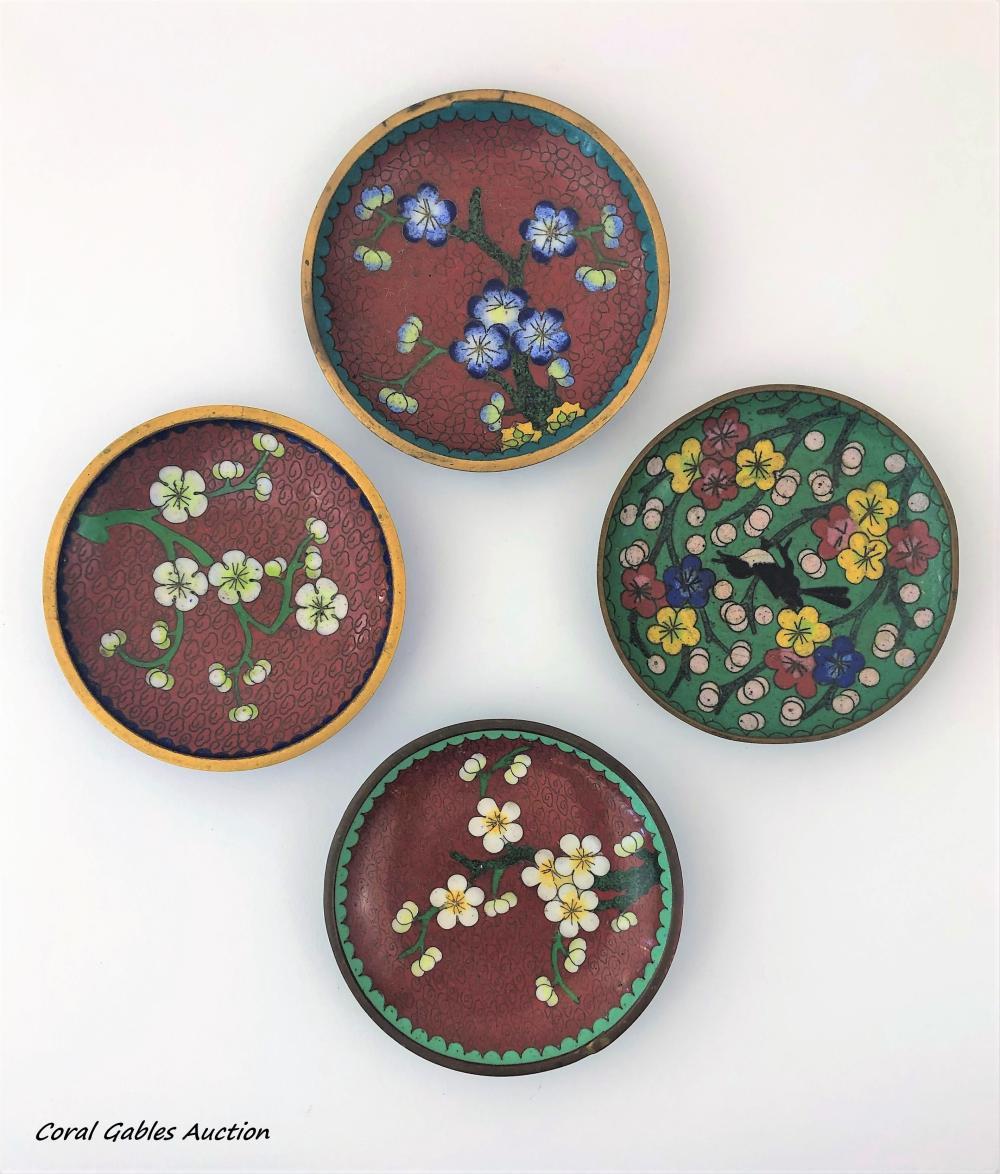 Four cloisonne miniature plates