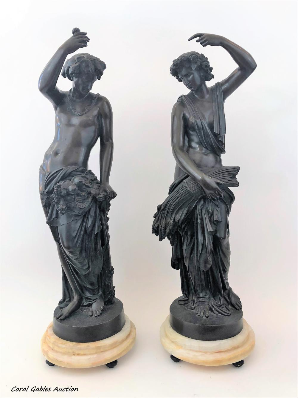 Pair of bronze sculptures and marble vase