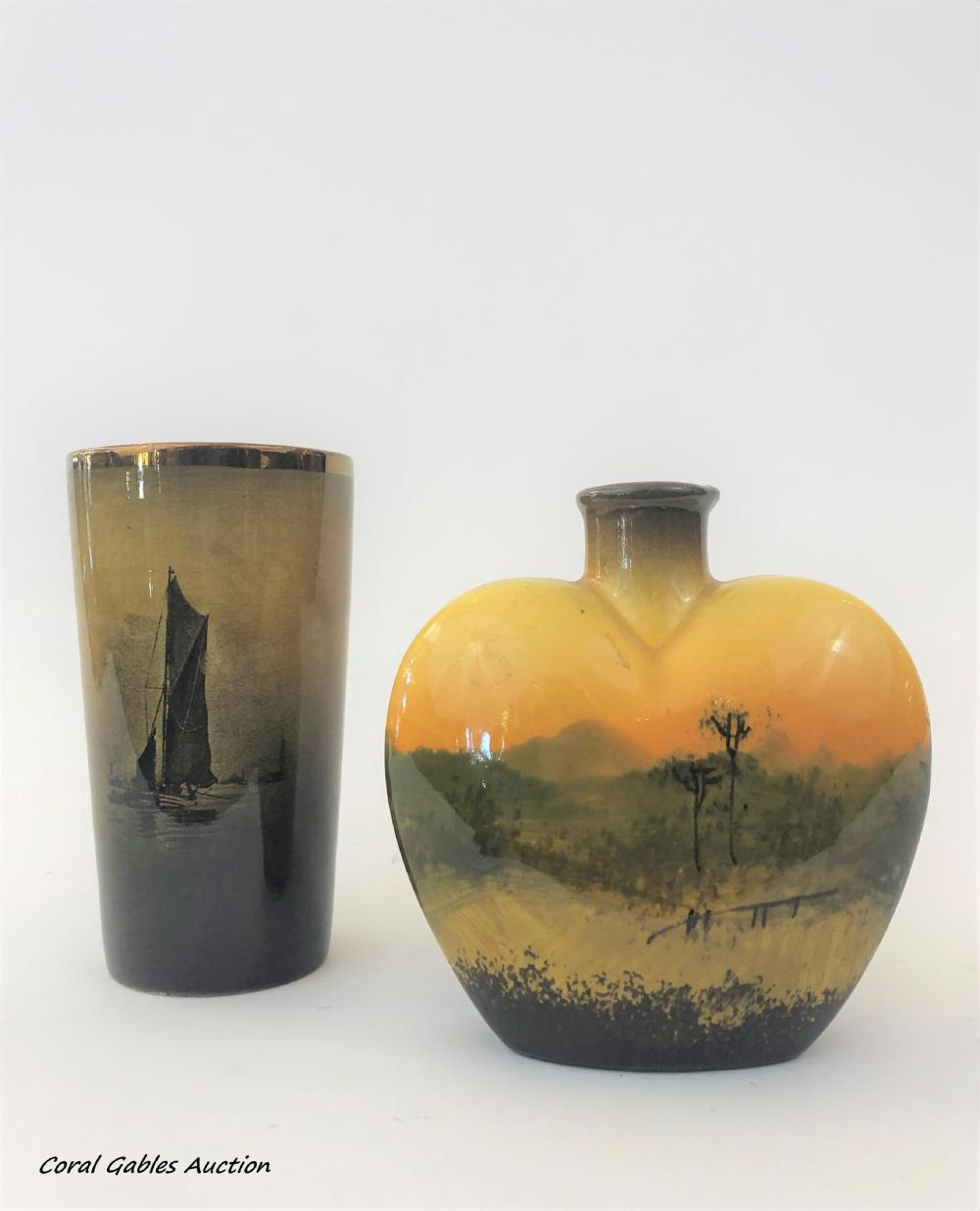 Two pieces of hand-painted glass