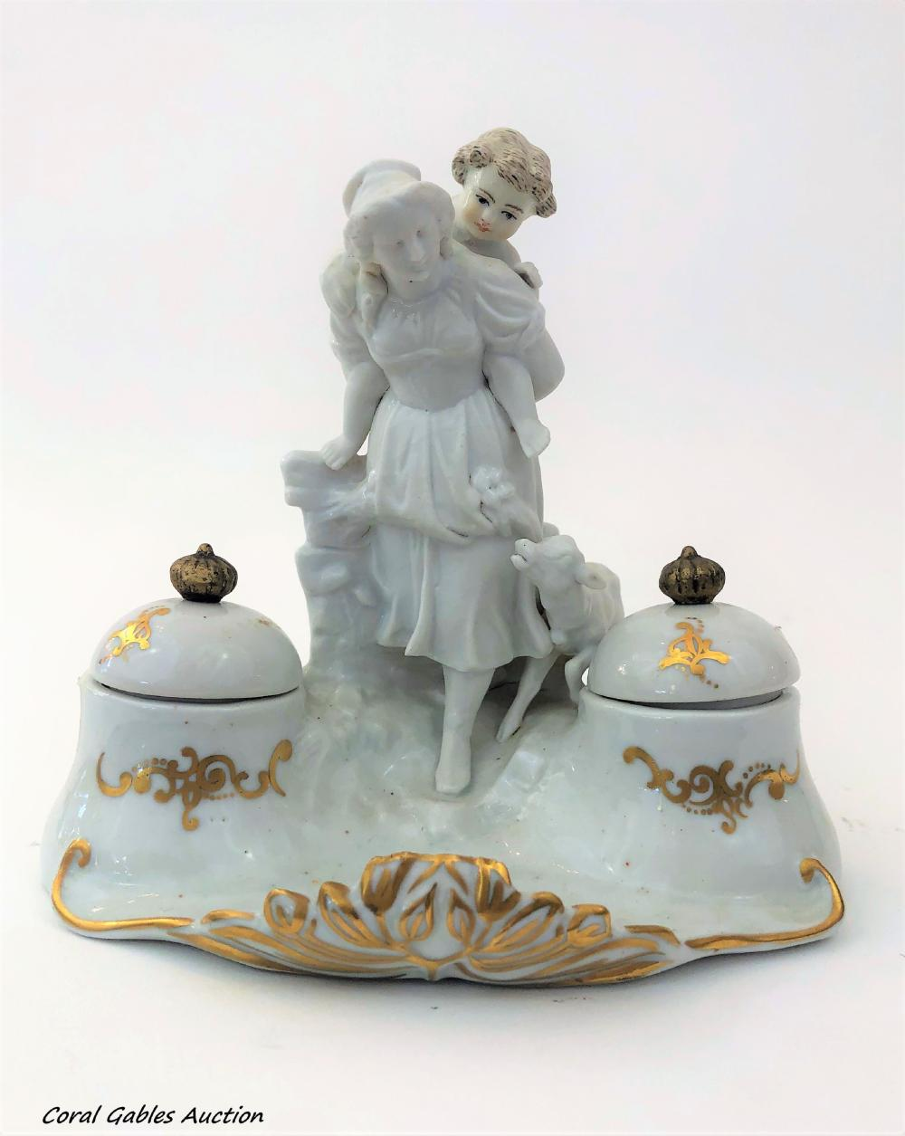 Porcelain and biscuit inkwell
