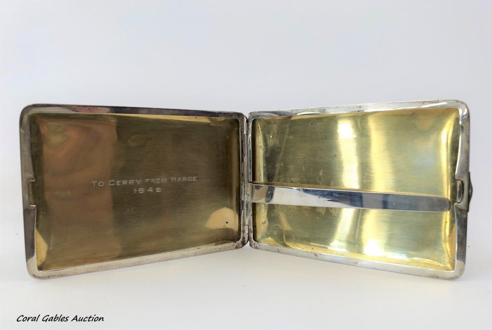 Antique sterling silver card holder signed Napier