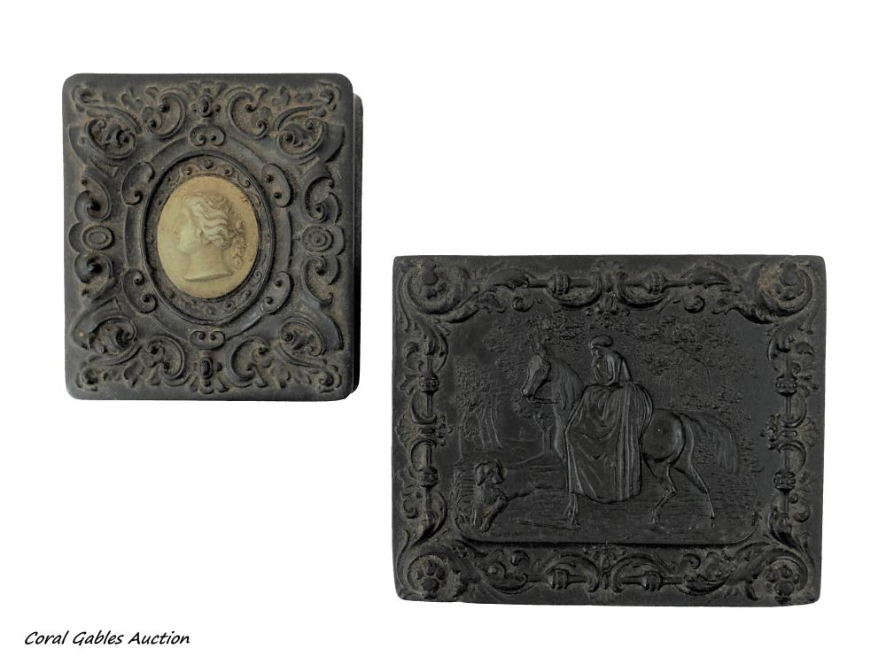 Two old photo frames with wooden box designs
