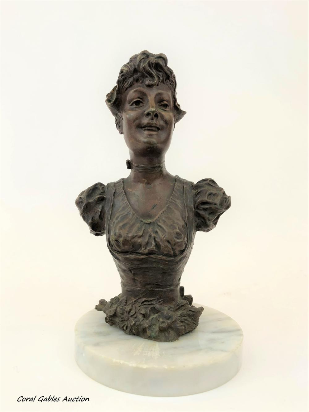 Antique bronze bust with marble base