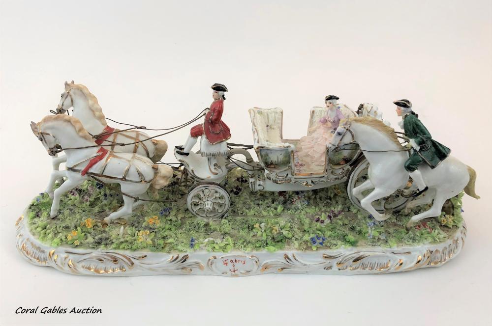 Decorative piece of porcelain signed Fabris